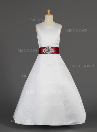 2018 New Scoop Neck A-Line/Princess Flower Girl Dresses Floor-length Satin Sleeveless (010014630)