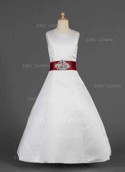 2018 New Scoop Neck A-Line/Princess Flower Girl Dresses Floor-length Satin Sleeveless (010014630)
