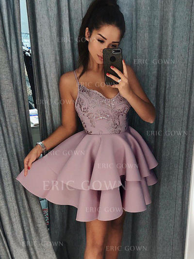 A-Line/Princess V-neck Short/Mini Stretch Crepe Homecoming Dresses With Ruffle Appliques Lace (022212461)