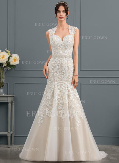 Trumpet/Mermaid Sweetheart Court Train Tulle Lace Wedding Dress With Beading (002153457)