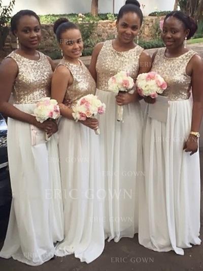 A-Line/Princess Chiffon Sequined Bridesmaid Dresses Scoop Neck Sleeveless Floor-Length (007145031)