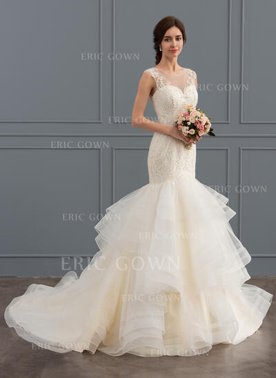 Trumpet/Mermaid Illusion Chapel Train Tulle Lace Wedding Dress With Beading Sequins (002127641)