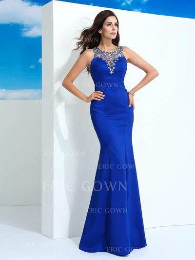 Sheath/Column Floor-Length Prom Dresses With Beading (018212193)