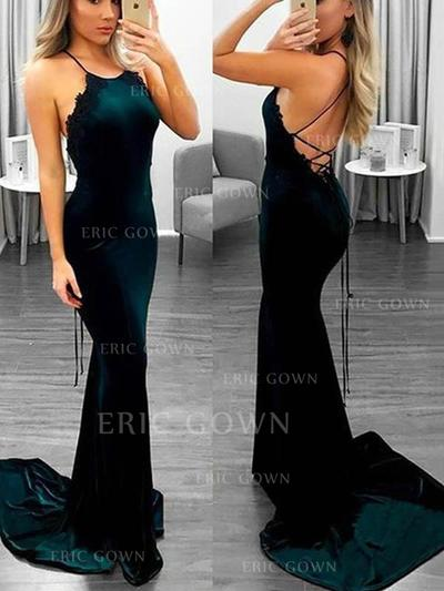 Trumpet/Mermaid Scoop Neck Sweep Train Prom Dresses With Appliques (018219247)
