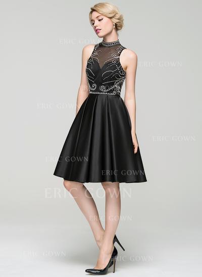 A-Line/Princess High Neck Knee-Length Satin Cocktail Dress With Beading Sequins (016094599)