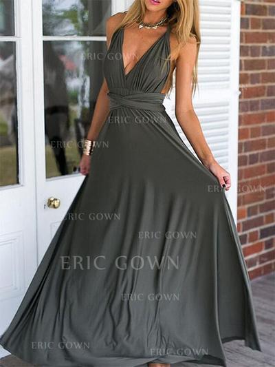 Empire V-neck Floor-Length Prom Dresses With Ruffle (018218102)