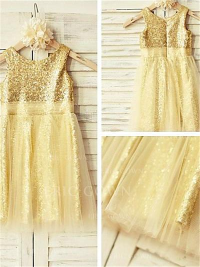 A-Line/Princess Scoop Neck Tea-length With Pleated Tulle/Sequined Flower Girl Dresses (010211965)