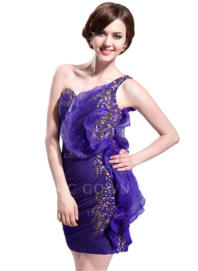Sheath/Column One-Shoulder Short/Mini Chiffon Cocktail Dresses With Beading Sequins Cascading Ruffles (016008393)