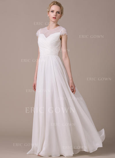 Stunning Scoop A-Line/Princess Wedding Dresses Floor-Length Chiffon Short Sleeves (002210616)