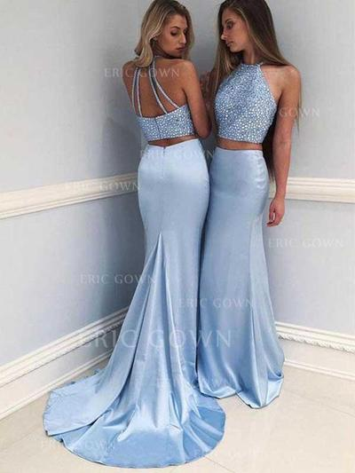 Sheath/Column Halter Sweep Train Satin Prom Dresses With Beading (018217338)