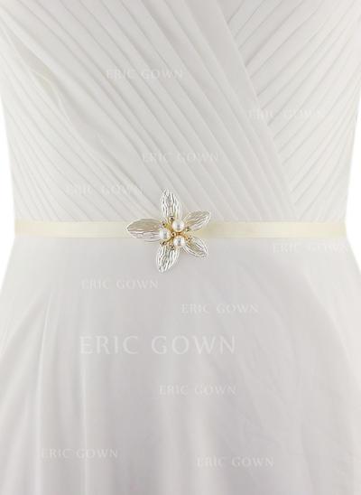 Women Satin With Imitation Pearls Sash Beautiful Sashes & Belts (015191734)