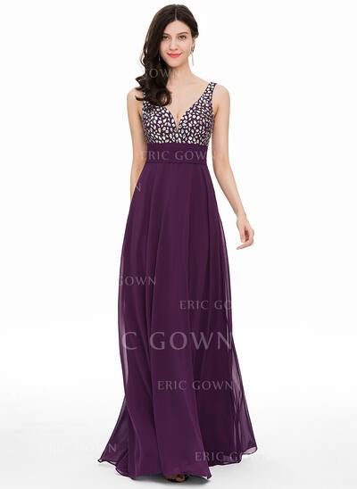 A-Line/Princess V-neck Floor-Length Chiffon Prom Dresses With Beading (018163106)