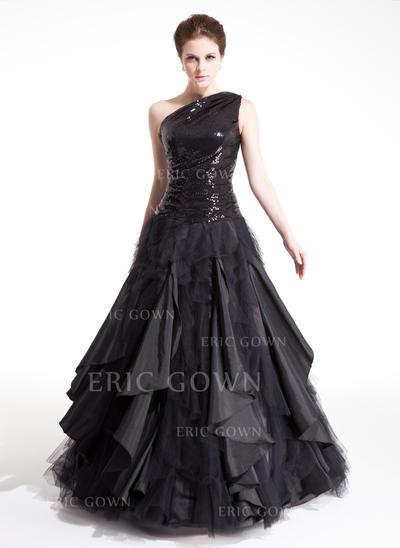 Ball-Gown One-Shoulder Floor-Length Prom Dresses With Ruffle Cascading Ruffles (018212992)