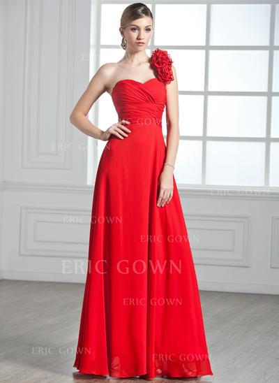A-Line/Princess One-Shoulder Floor-Length Evening Dresses With Ruffle Flower(s) (017002599)