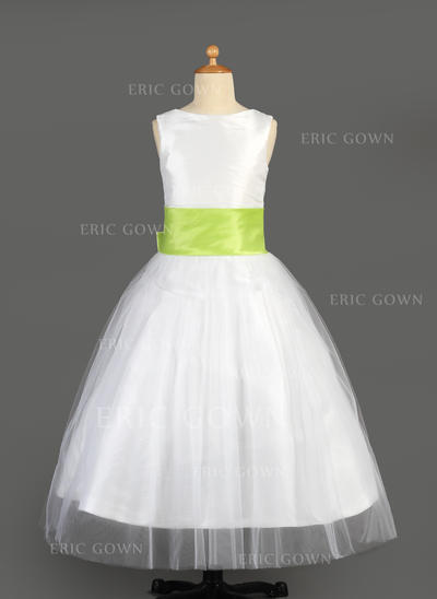 Chic Scoop Neck A-Line/Princess Flower Girl Dresses Floor-length Tulle/Charmeuse Sleeveless (010014646)