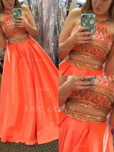 A-Line/Princess High Neck Floor-Length Prom Dresses With Beading (018218117)