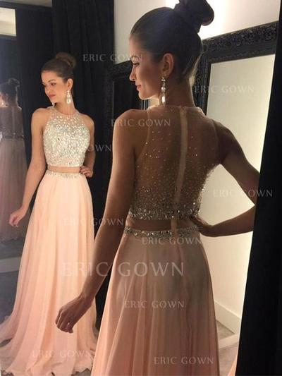 A-Line/Princess Sweep Train Prom Dresses Scoop Neck Chiffon Sleeveless (018145400)