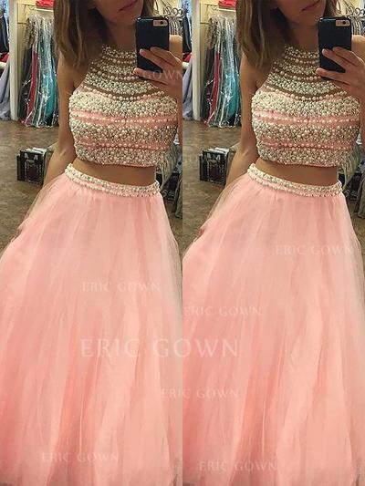 A-Line/Princess Tulle Prom Dresses Beading Halter Sleeveless Floor-Length (018210231)