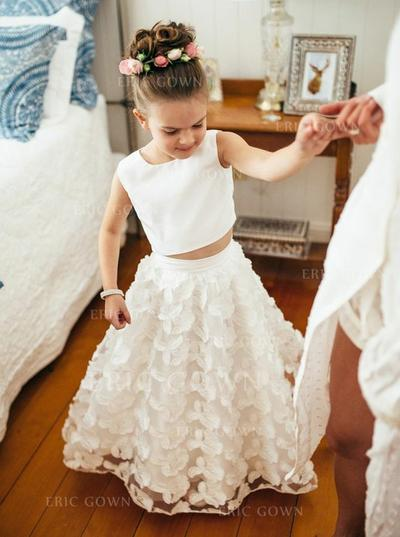 Fashion Scoop Neck A-Line/Princess Flower Girl Dresses Floor-length Satin/Lace Sleeveless (010146741)