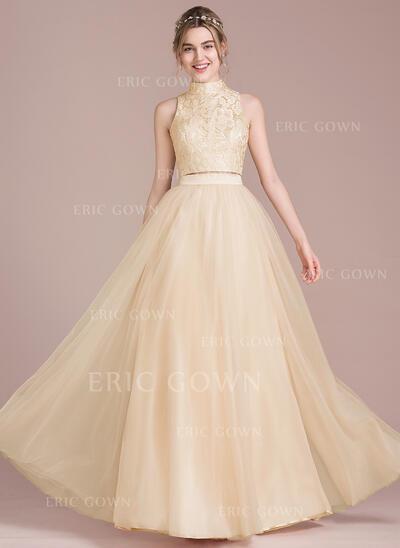 A-Line/Princess Scoop Neck High Neck Floor-Length Tulle Prom Dresses (018093863)