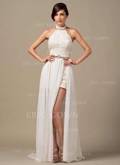A-Line/Princess Halter Court Train Chiffon Lace Wedding Dress With Beading (002064254)
