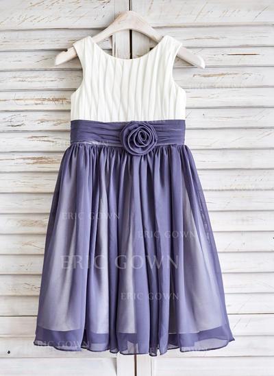 Gorgeous Scoop Neck A-Line/Princess Flower Girl Dresses Tea-length Chiffon Sleeveless (010210135)