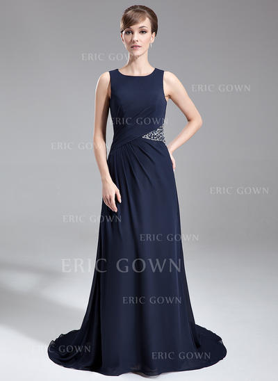 A-Line/Princess Chiffon Sleeveless Scoop Neck Sweep Train Zipper Up Mother of the Bride Dresses (008005708)