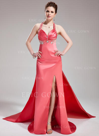 A-Line/Princess Halter Watteau Train Evening Dresses With Ruffle Beading Split Front (017019578)