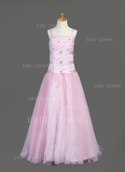 Luxurious A-Line/Princess Flower Girl Dresses Floor-length Organza/Satin Sleeveless (010005890)