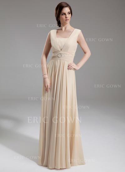 A-Line/Princess Chiffon Sleeveless Square Neckline Floor-Length Zipper Up Mother of the Bride Dresses (008005992)