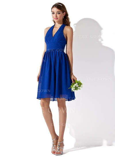 A-Line/Princess Chiffon Bridesmaid Dresses Ruffle Halter Sleeveless Knee-Length (007000754)