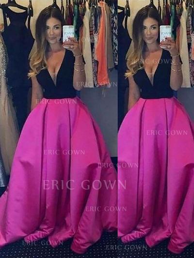 Ball-Gown Satin Prom Dresses Ruffle V-neck Sleeveless Floor-Length (018210303)