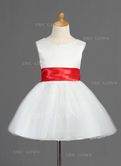 Glamorous Scoop Neck A-Line/Princess Flower Girl Dresses Short/Mini Satin/Tulle Sleeveless (010014598)