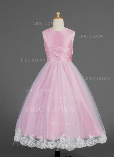 Elegant Scoop Neck A-Line/Princess Flower Girl Dresses Ankle-length Taffeta/Tulle Sleeveless (010014621)