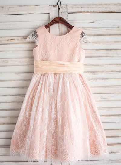 A-Line/Princess Tea-length Flower Girl Dress - Lace Sleeveless Scoop Neck (010092597)