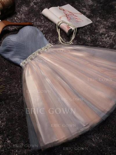 A-Line/Princess Sweetheart Short/Mini Homecoming Dresses With Ruffle Sash Beading Bow(s) (022216262)