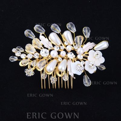 """Combs & Barrettes Wedding Crystal/Alloy/Imitation Pearls 3.94""""(Approx.10cm) 2.76""""(Approx.7cm) Headpieces (042159278)"""
