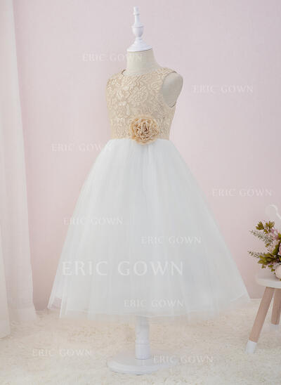 A-Line Tea-length Flower Girl Dress - Tulle/Lace Sleeveless Scoop Neck With Flower(s) (010207214)