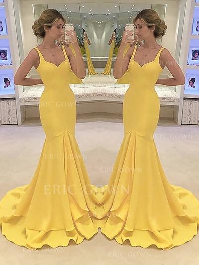 Trumpet/Mermaid Sweetheart Sweep Train Evening Dresses With Cascading Ruffles (017217180)