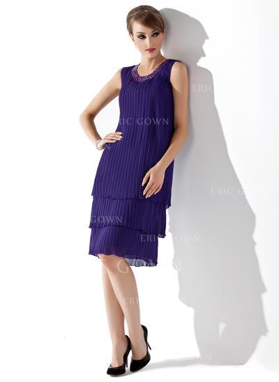A-Line/Princess Chiffon Sleeveless Scoop Neck Knee-Length Zipper Up Mother of the Bride Dresses (008211027)