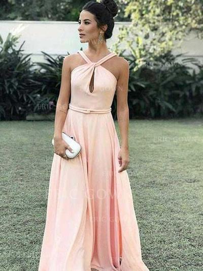 Modern Chiffon Evening Dresses A-Line/Princess Floor-Length Halter Sleeveless (017213626)