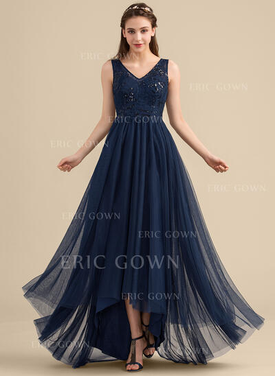 A-Line V-neck Asymmetrical Tulle Lace Bridesmaid Dress (007153340)