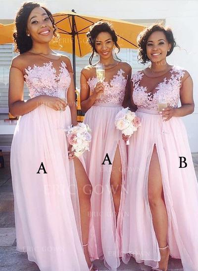 A-Line/Princess Chiffon Lace Bridesmaid Dresses Split Front Scoop Neck Sleeveless Floor-Length (007144976)