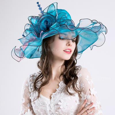 Cotton/Net Yarn With Silk Flower Floppy Hat Glamourous Ladies' Hats (196194659)