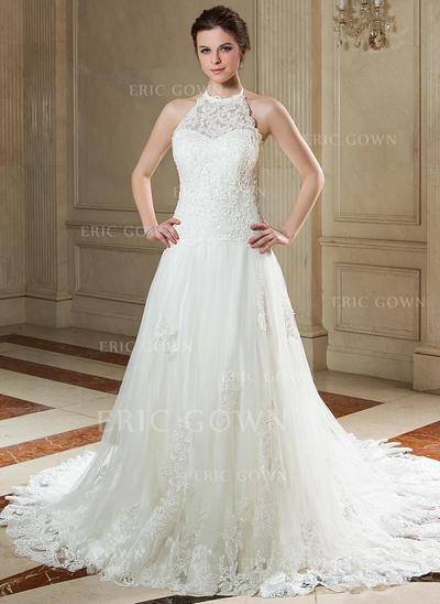 A-Line/Princess Halter Court Train Wedding Dresses With Beading Sequins (002000141)