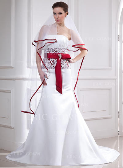 Trumpet/Mermaid Strapless Chapel Train Wedding Dresses With Lace Sash Crystal Brooch Bow(s) (002211323)
