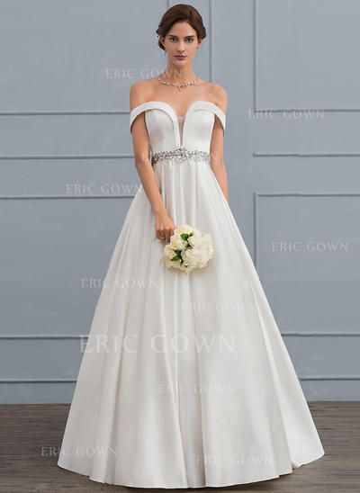 Ball-Gown Off-the-Shoulder Floor-Length Satin Wedding Dress With Beading Sequins Cascading Ruffles (002119794)