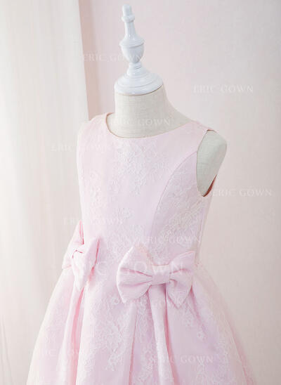 A-Line Tea-length Flower Girl Dress - Lace Sleeveless Scoop Neck With Bow(s) (010195336)