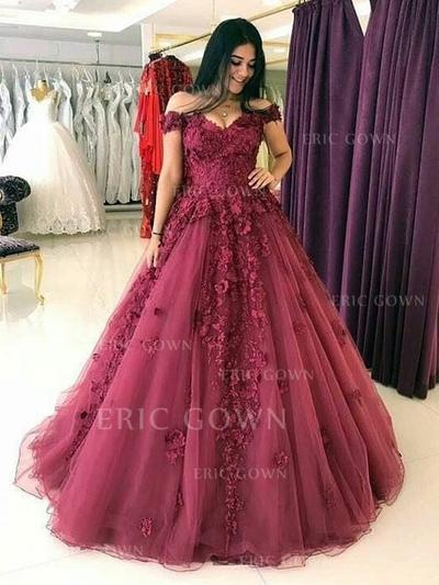 Ball-Gown Off-the-Shoulder Sweep Train Tulle Evening Dresses With Appliques Lace (017217823)