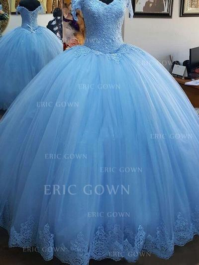 Ball-Gown Off-the-Shoulder Floor-Length Prom Dresses With Lace (018218138)